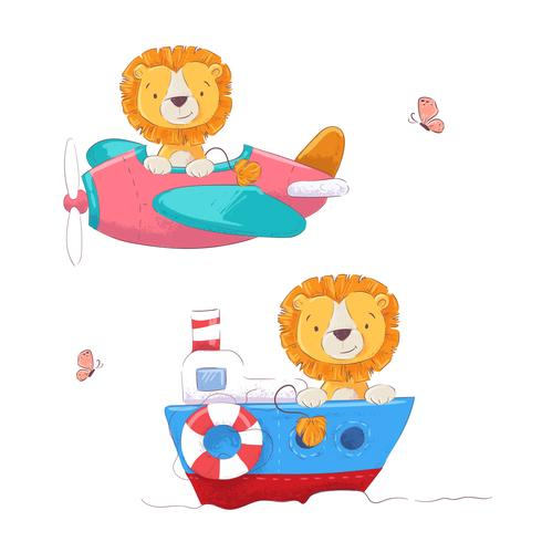 Set cute cartoon lion on a plane and boat children clipart. Vector.