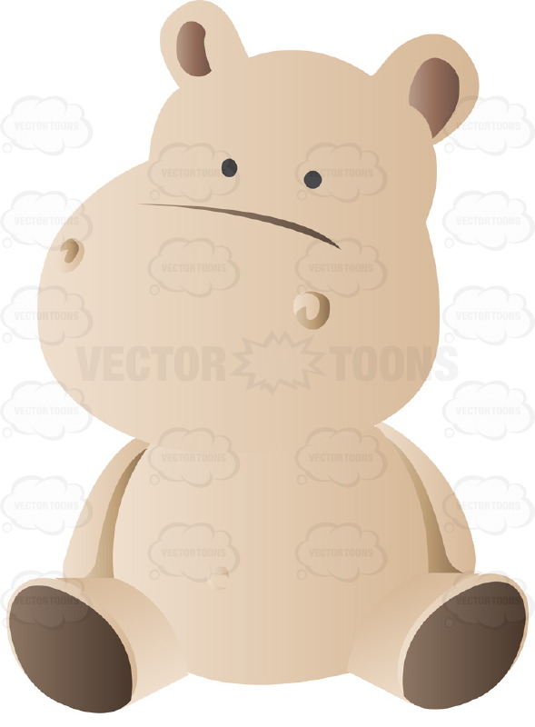 Cute Brown Stuffed Baby Hippo Doll Toy Cartoon Clipart.