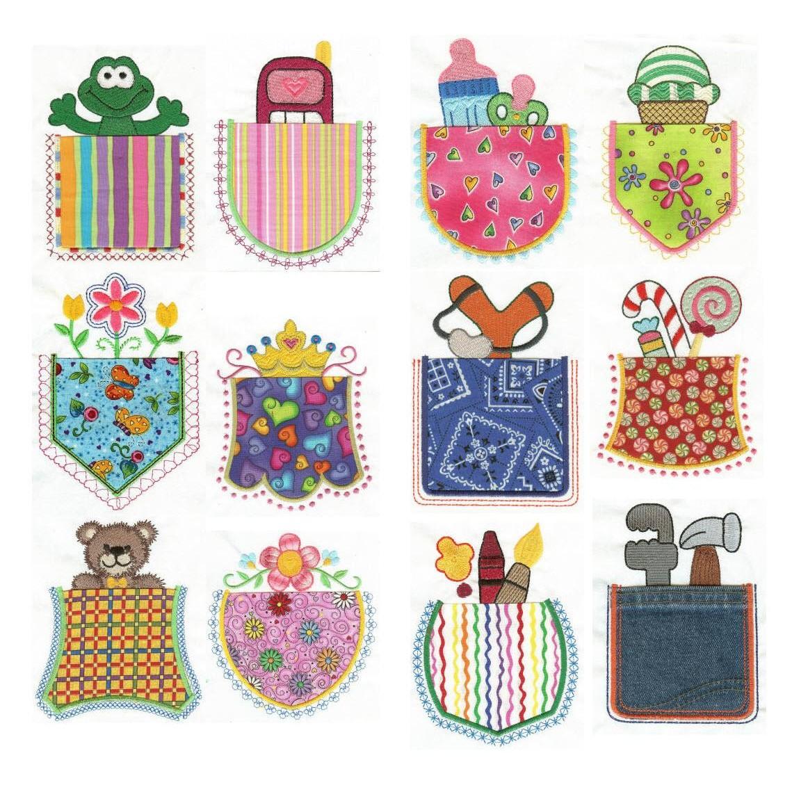 Cute Inside Pocket Applique Machine Embroidery Designs.