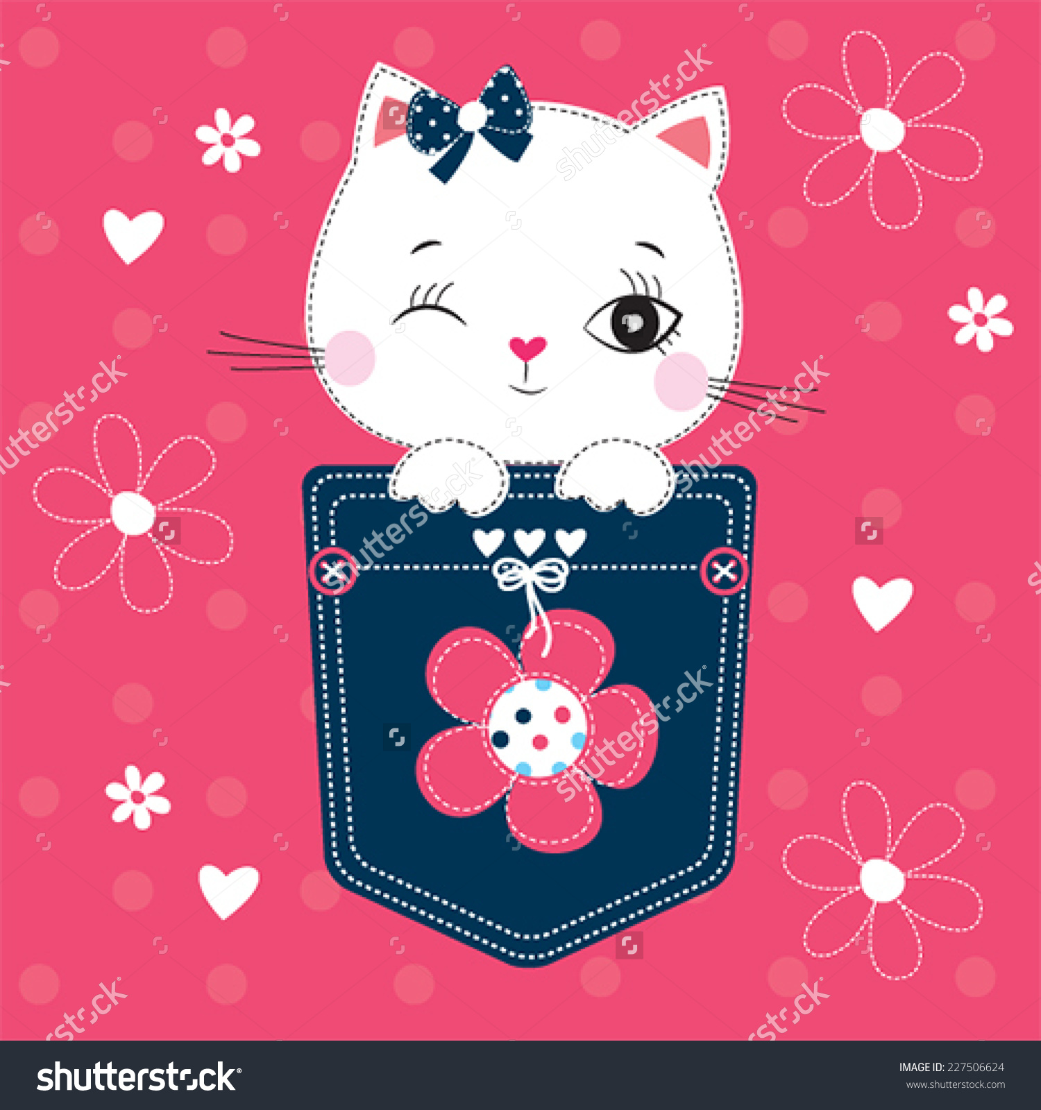 Cute White Cat In The Pocket Vector Illustration.