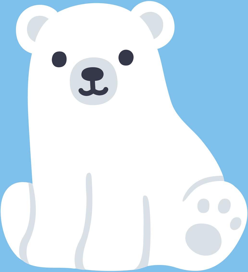 Amazon.com: Cute Kawaii Polar Bear With Blue Background Cartoon.