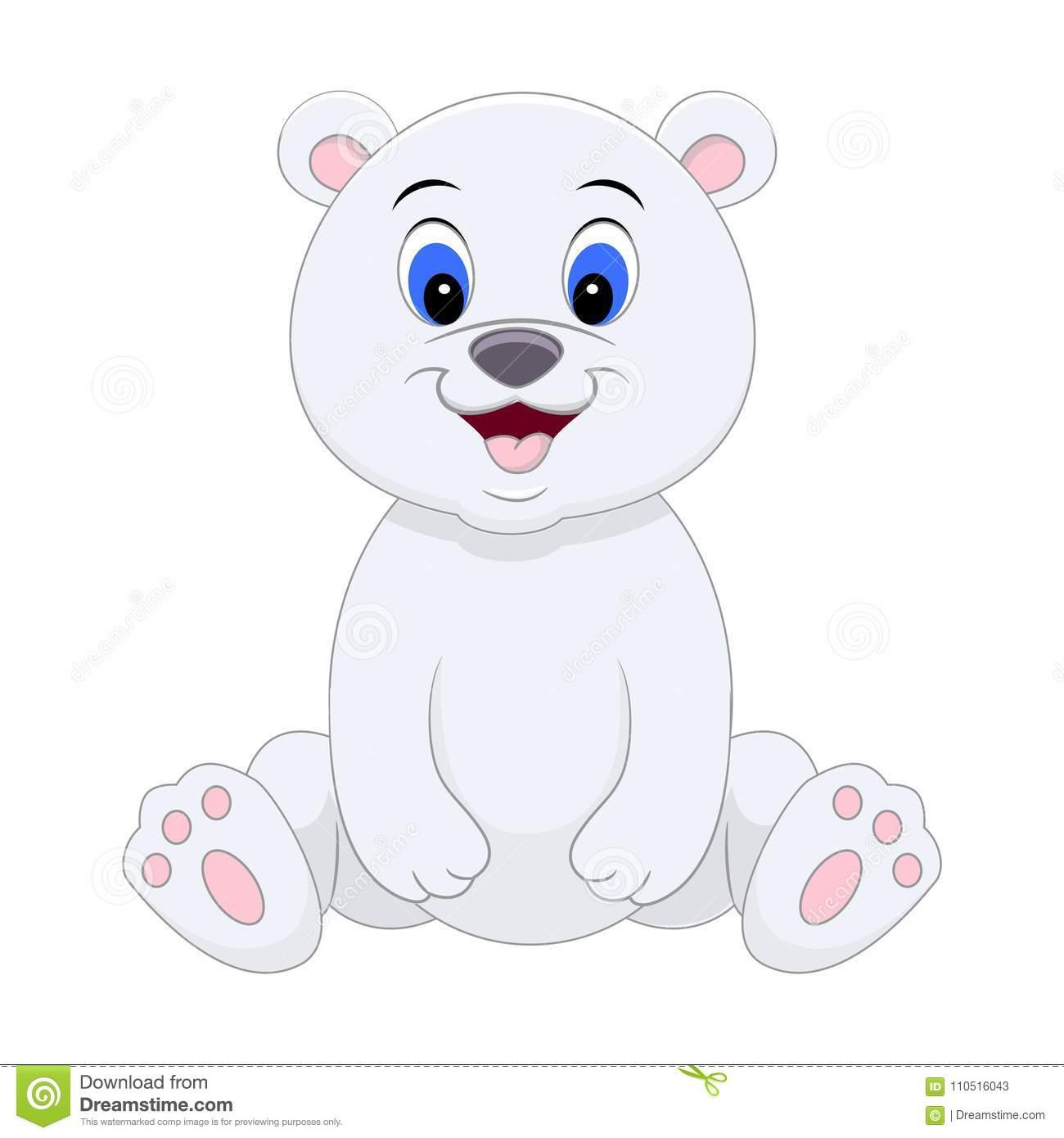 Cute Cartoon Polar Bear. Vector Illustration Isolated On White Stock.