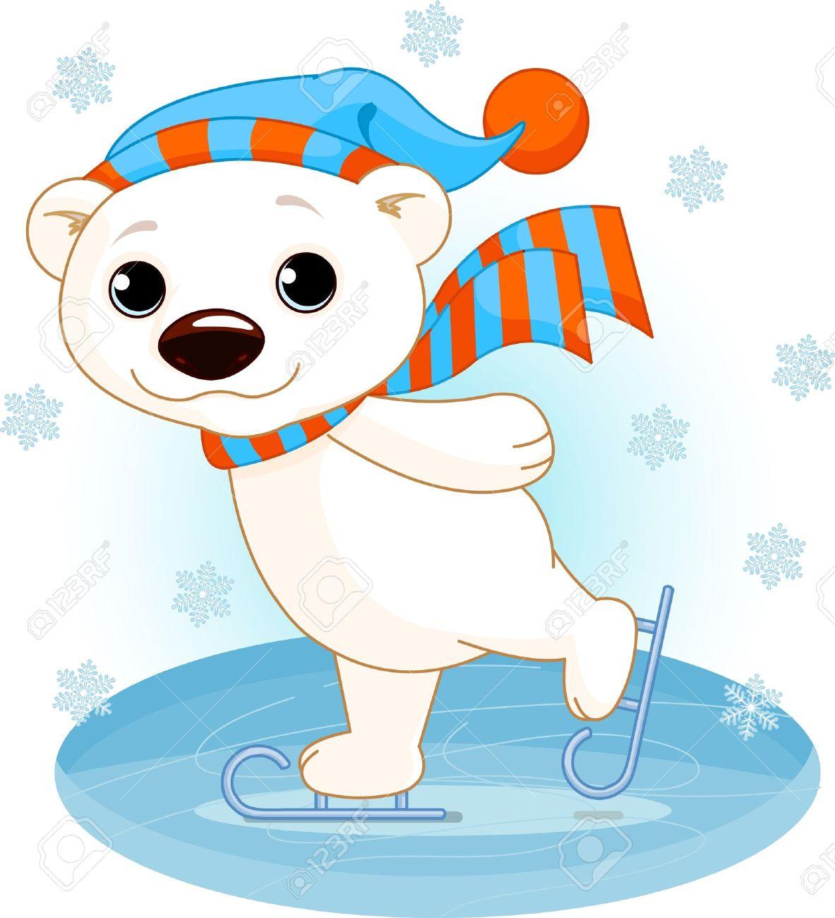 Illustration of cute polar bear on ice skates.