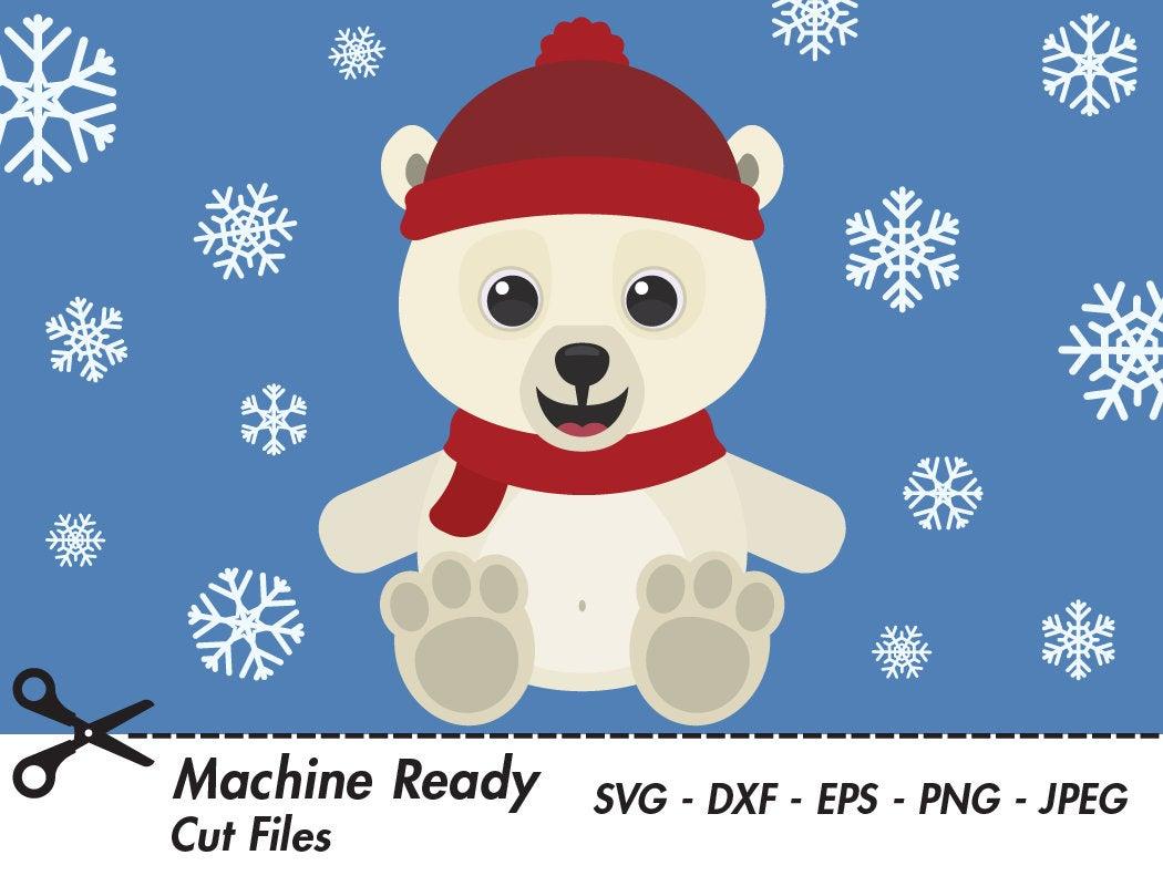 Cute Polar Bear SVG Cut Files, PNG polar bear clipart, baby bear clip art,  animal vector graphic, printable bear face, winter snowflake art.