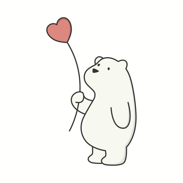 Kawaii Cute Polar Bear With Heart.