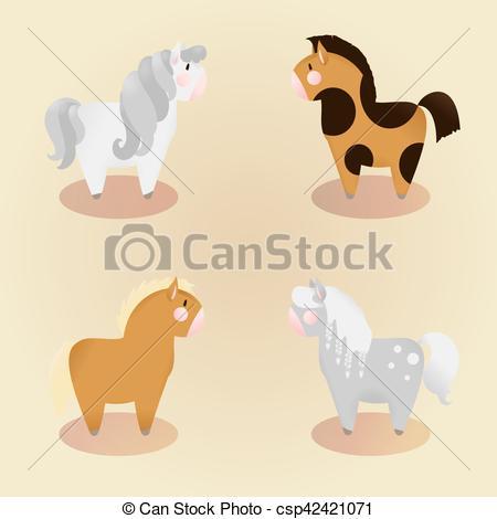 set of 4 little cute pony.