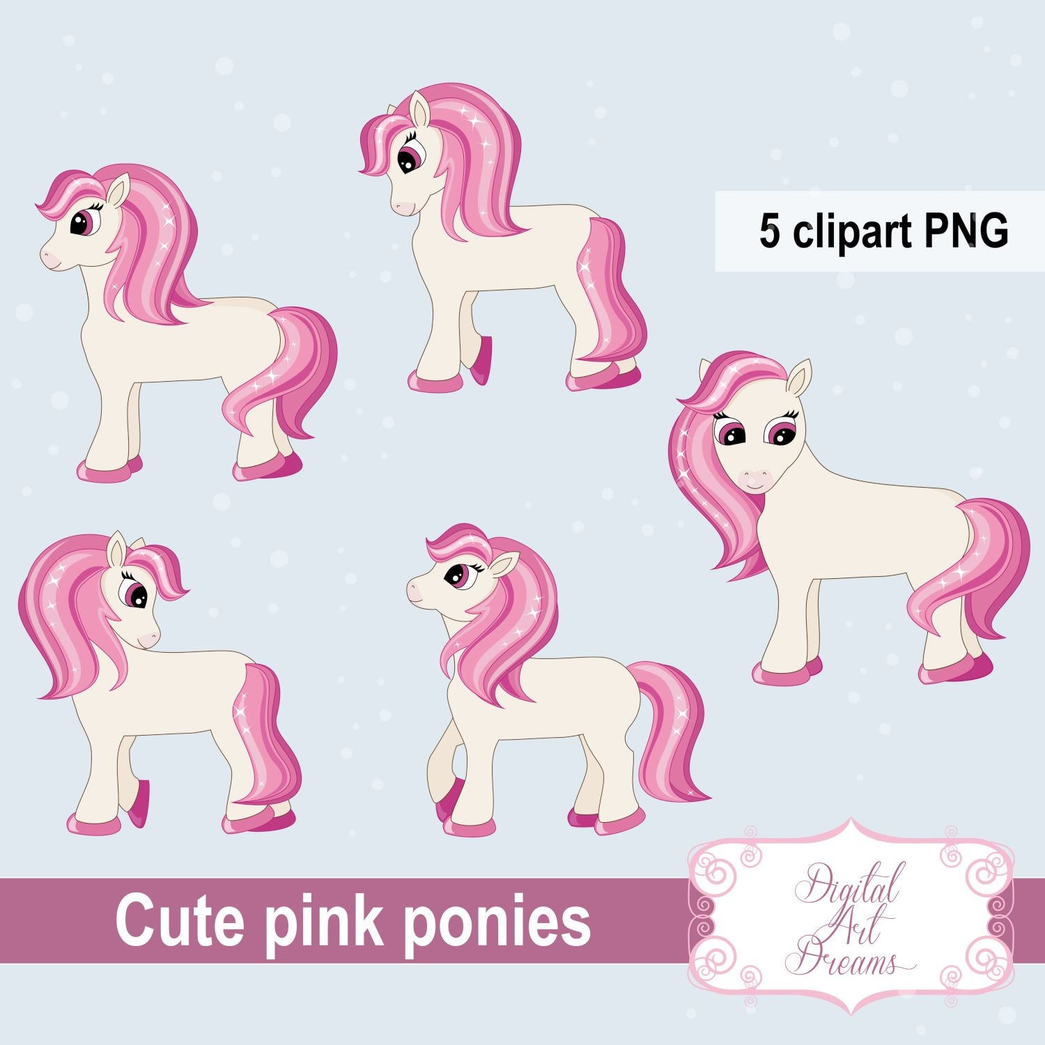Pink Pony Clipart, Cute Animal Graphics, Ponies, Party Printables, Digital  Scrapbooking, Card Making, Embroidery, Planner Stickers, Birthday.