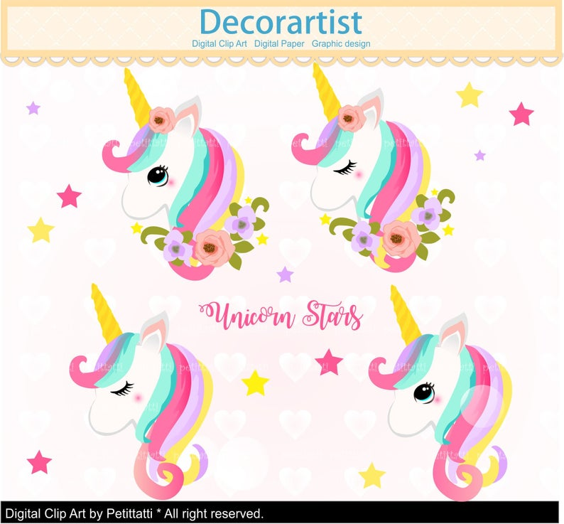 Fairy Unicorn Clipart, Rainbow Unicorns clip art ,cute Pony, Cute Horse,  digital Clip art, Scrapbook, Unicorn head Birthday, Clipart.