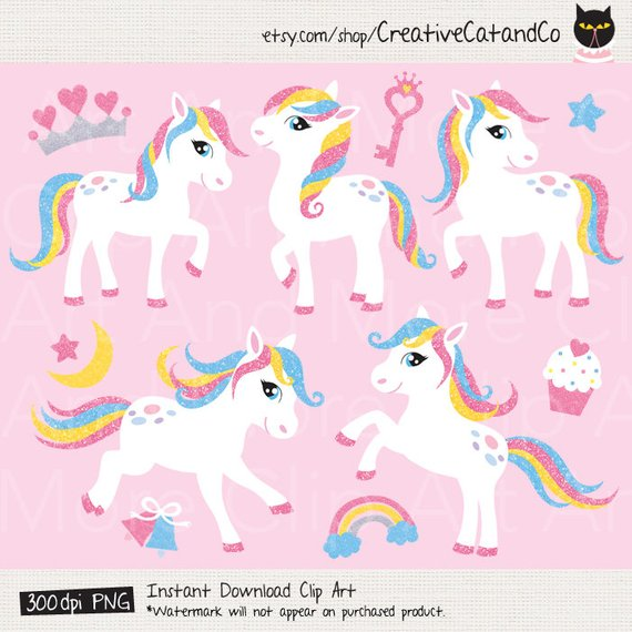 Pony Clipart, White Little Pony Horse with Glitter Effect, Pony.