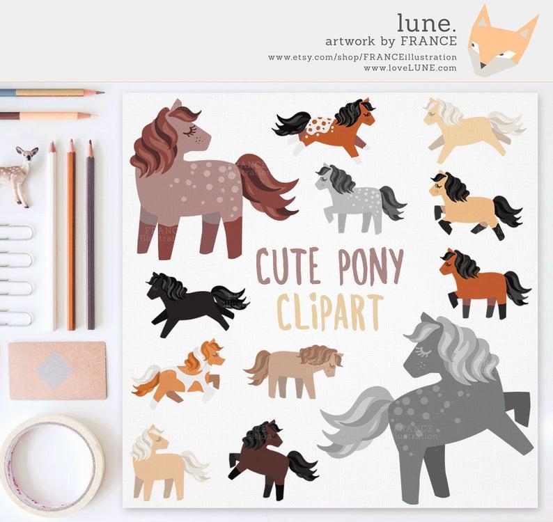 3 FOR 2. Horse Clipart. Cute Little Pony Clipart. Chestnut, Dapple Grey,  Black, Palomino, Appaloosa. Running, Rearing. Farm Animal. Pet..