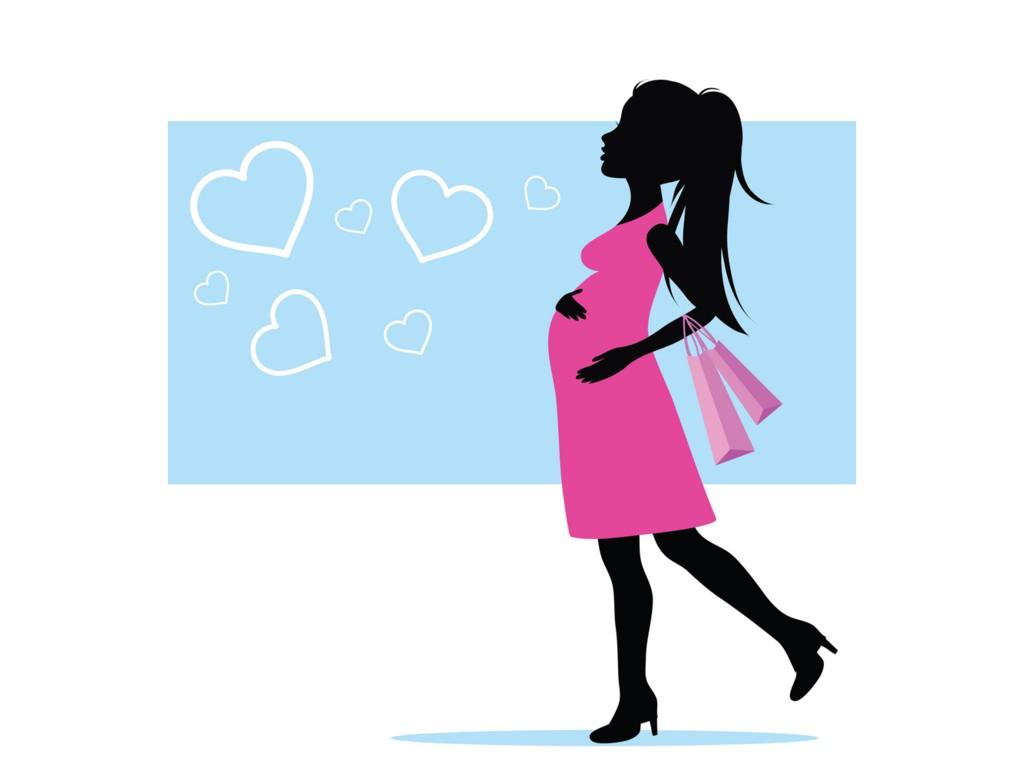 Cute pregnant silhouette clip art.