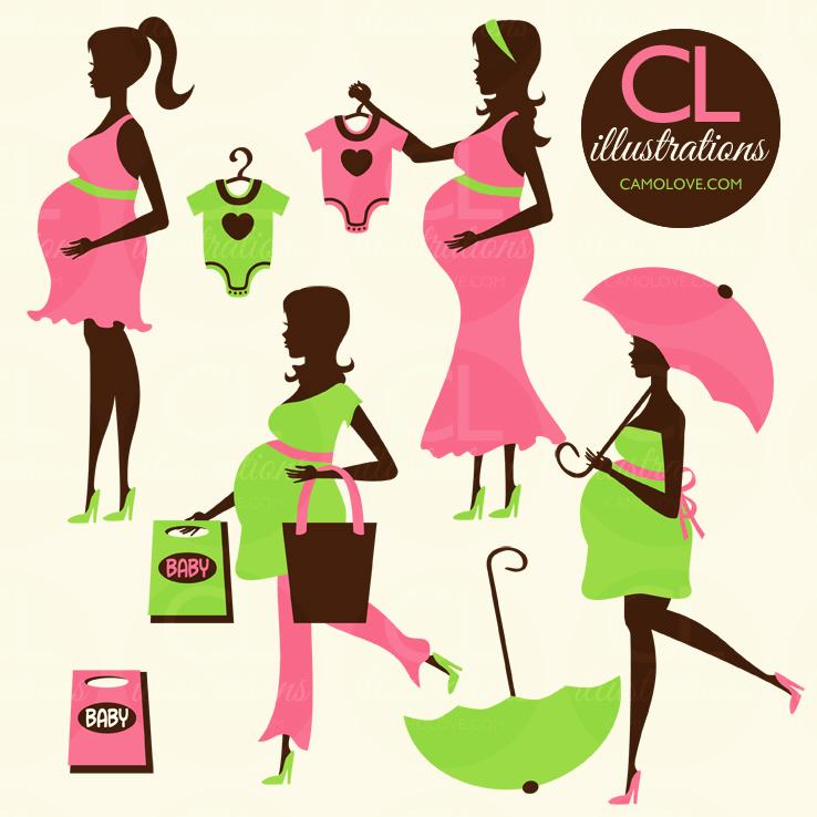 Cute Pregnant Woman Clipart.