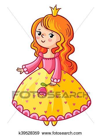 Cute Princess stand on a white background. Clip Art.