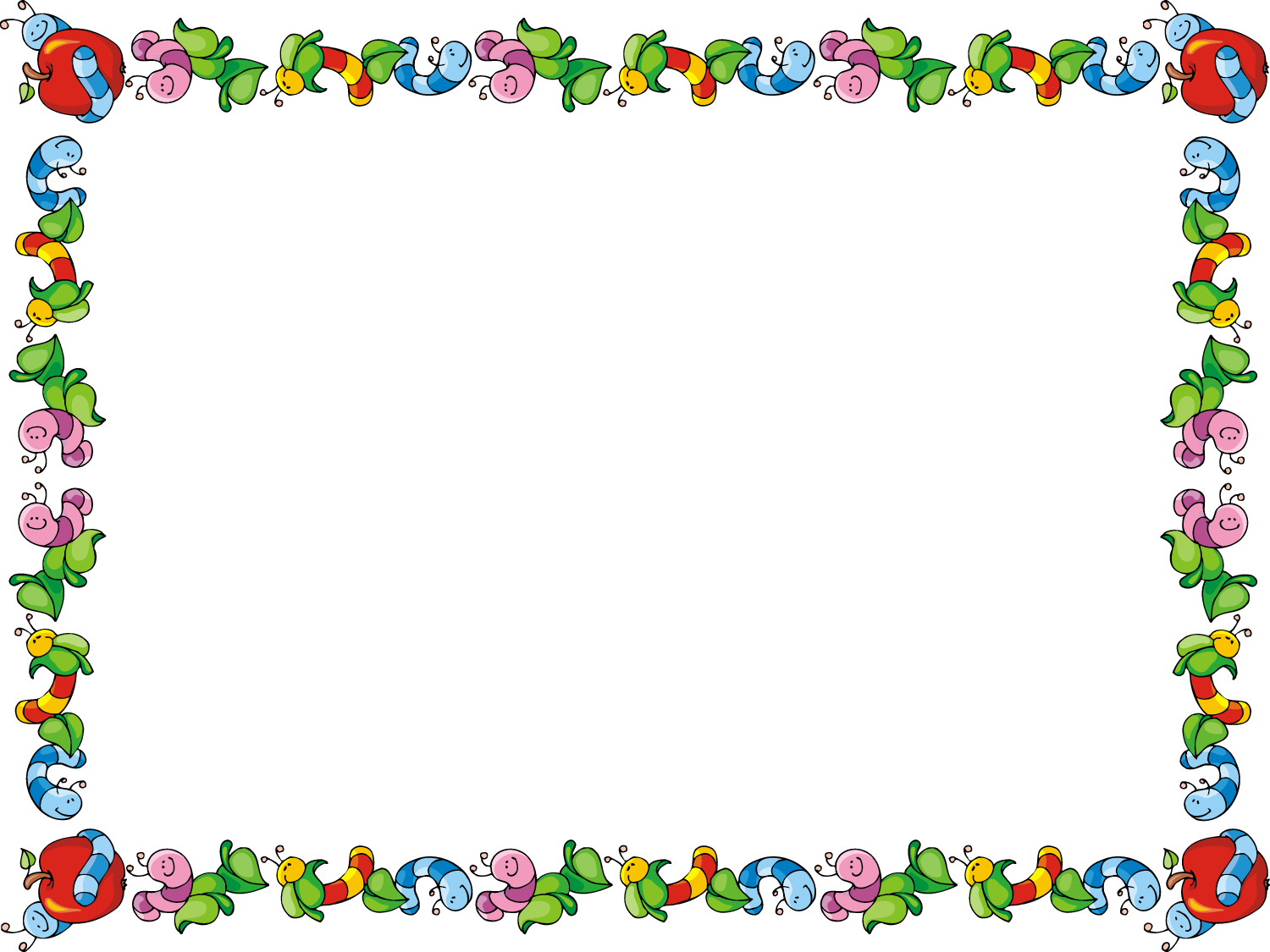Cute Printable Apple Border Clipart.