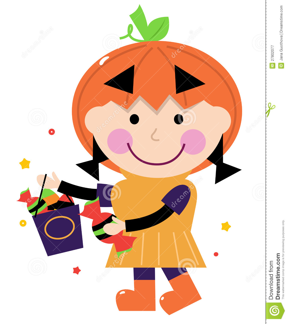 Cute kids with pumpkins clipart.