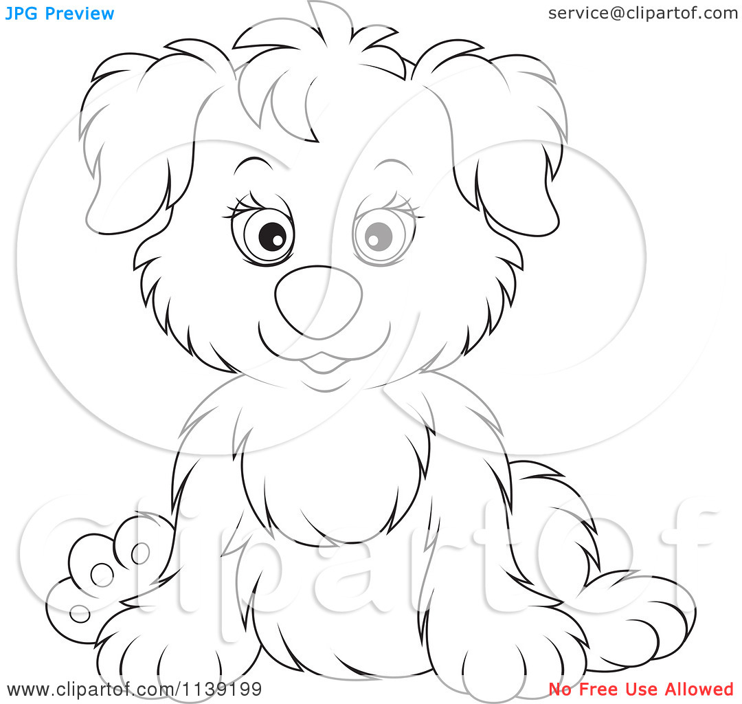 Free Black And White Cute Puppy Clipart.