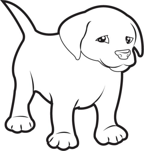 Cute Puppy Cuddling Clipart Black And White.