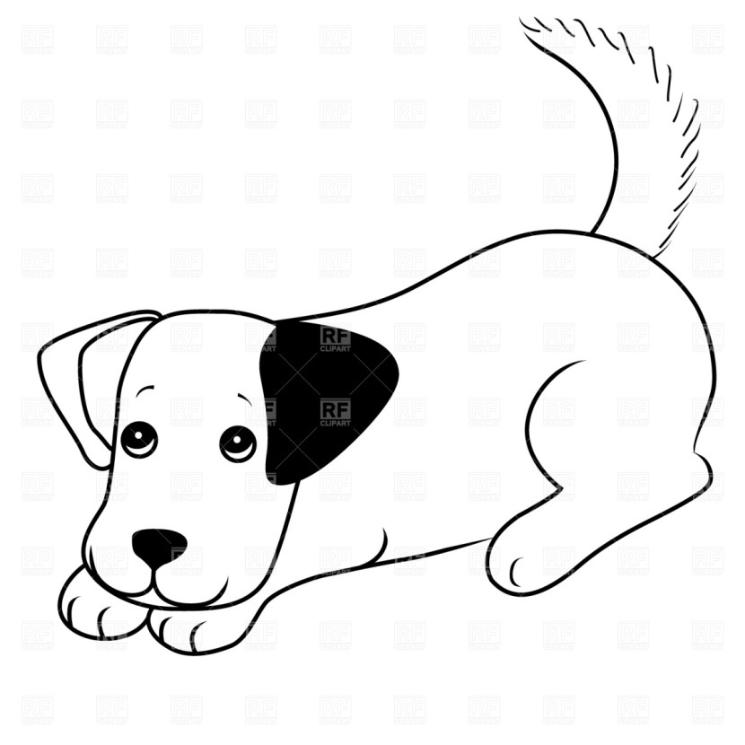 Cute Puppy Clipart Black And White.
