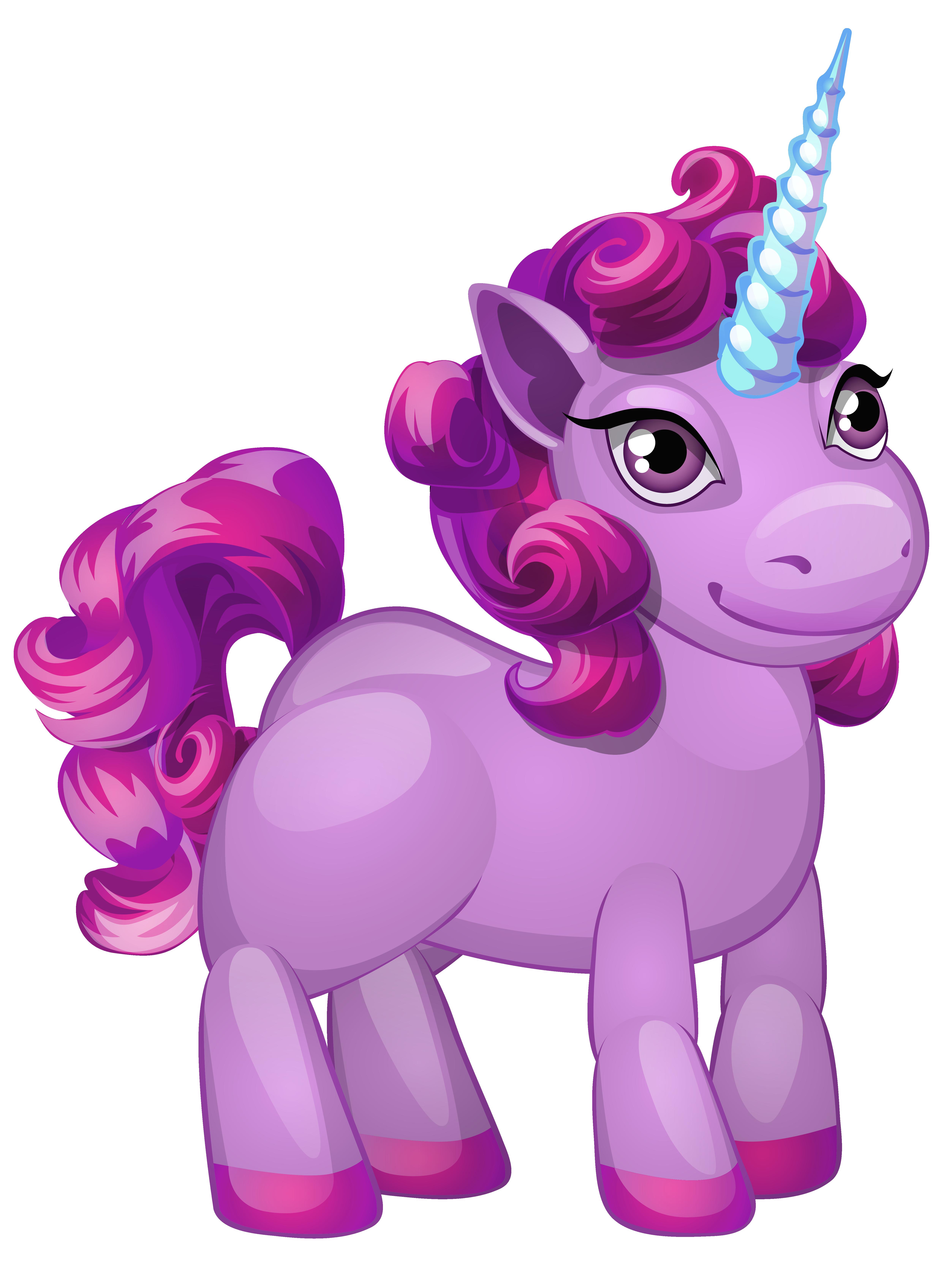 Cute Purple Pony PNG Clip Art Image.