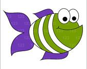 Items similar to Green And Purple Cute Fish Single Digital Clip.