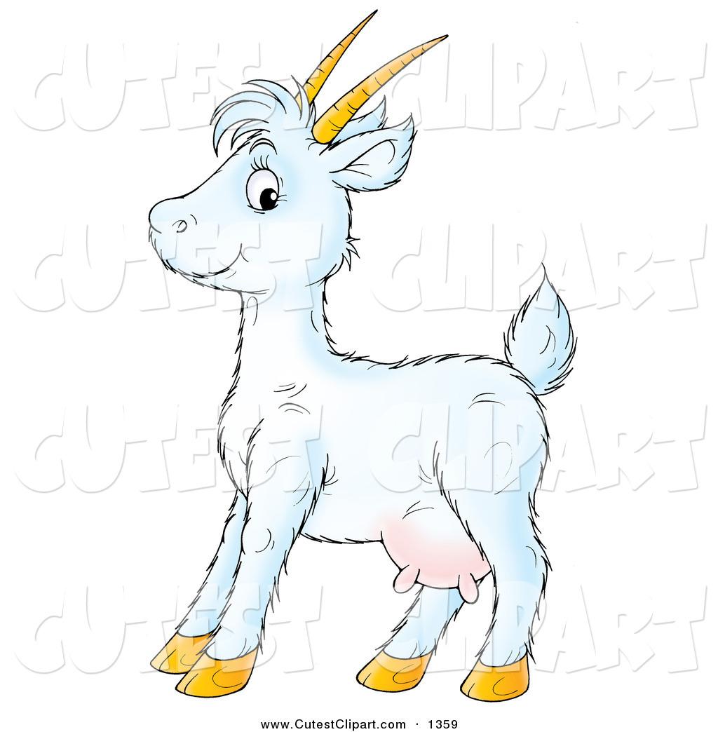 Cute Purple Goat Clipart.