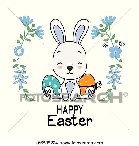 Easter card cute rabbit Clipart.