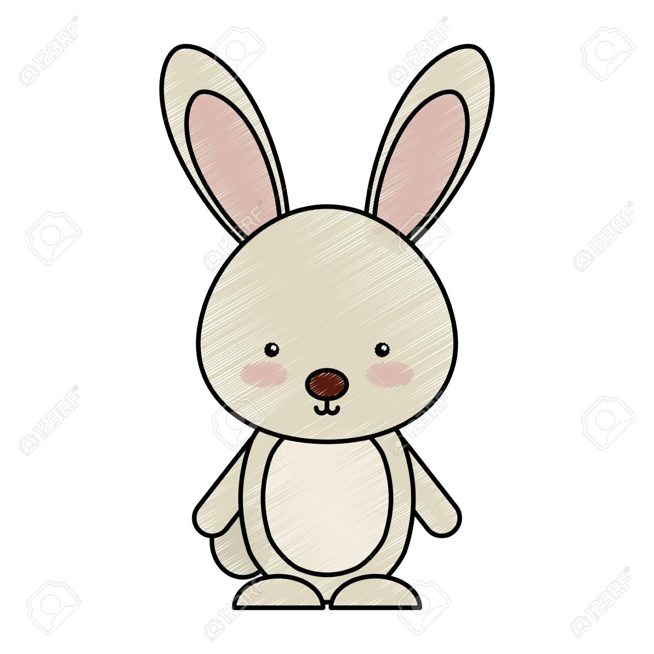 cute rabbit woodland animal vector illustration design.