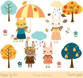 Cute bunnies clip art, Bunny rabbit clipart, Easter rabbits, Autumn set.