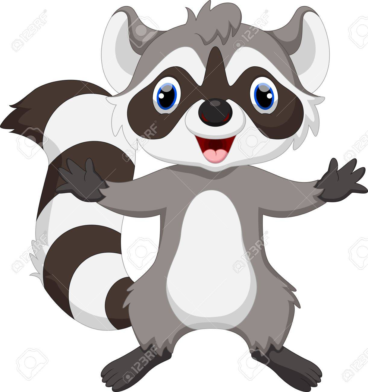 Cute raccoon cartoon waving.