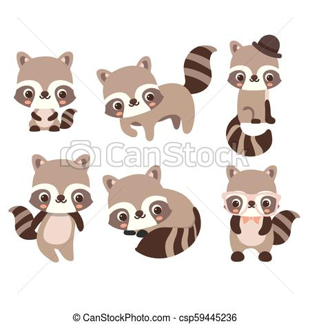Collection isolated funny raccoon..