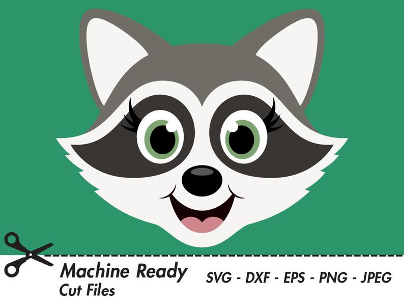 Cute Raccoon SVG Cut Files, PNG raccoons clipart, woodland clip art, happy  forest animal face, baby raccoon head, spring animals, girl.