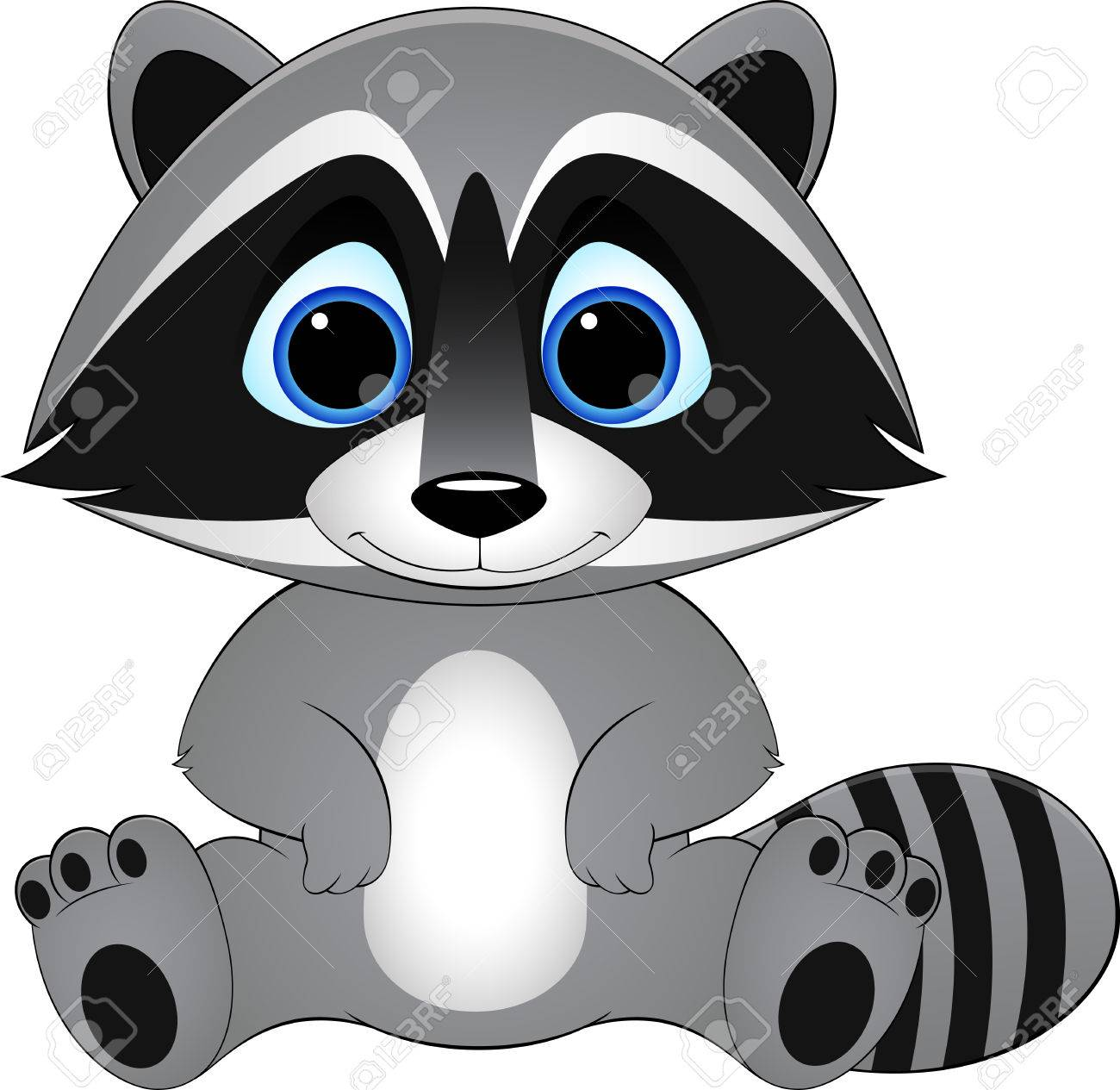 cute raccoon on white background, illustration.