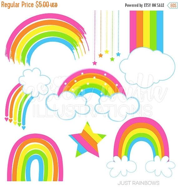 Just Rainbows Cute Digital Clipart, Rainbow Clip art, Rainbow.