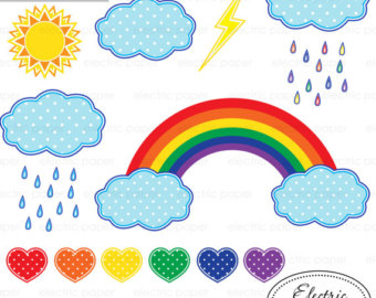 Pastel Rainbow Clip Art, Clouds Clipart, Spring Graphics Design.