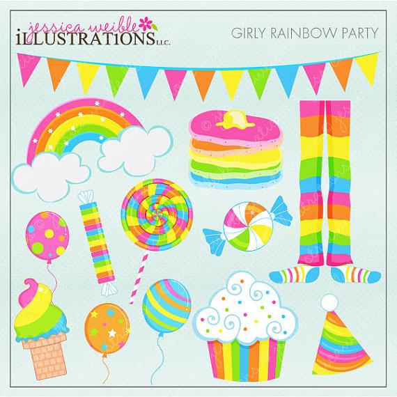 Girly Rainbow Party Cute Digital Clipart, Rainbow Clip art.
