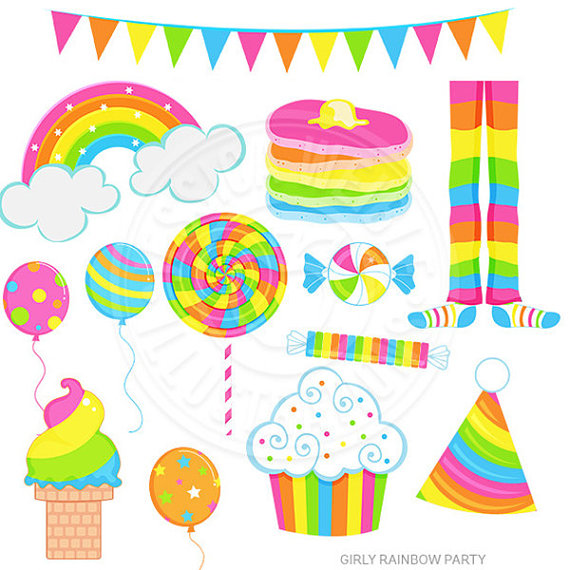 Girly Rainbow Party Cute Digital Clipart, Rainbow Clip art.