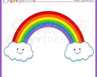 Heart Rainbow Cute Digital Clipart.