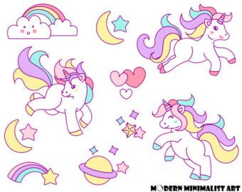 Rainbow Unicorn Clipart/ Cute Unicorn and Rainbow clipart.