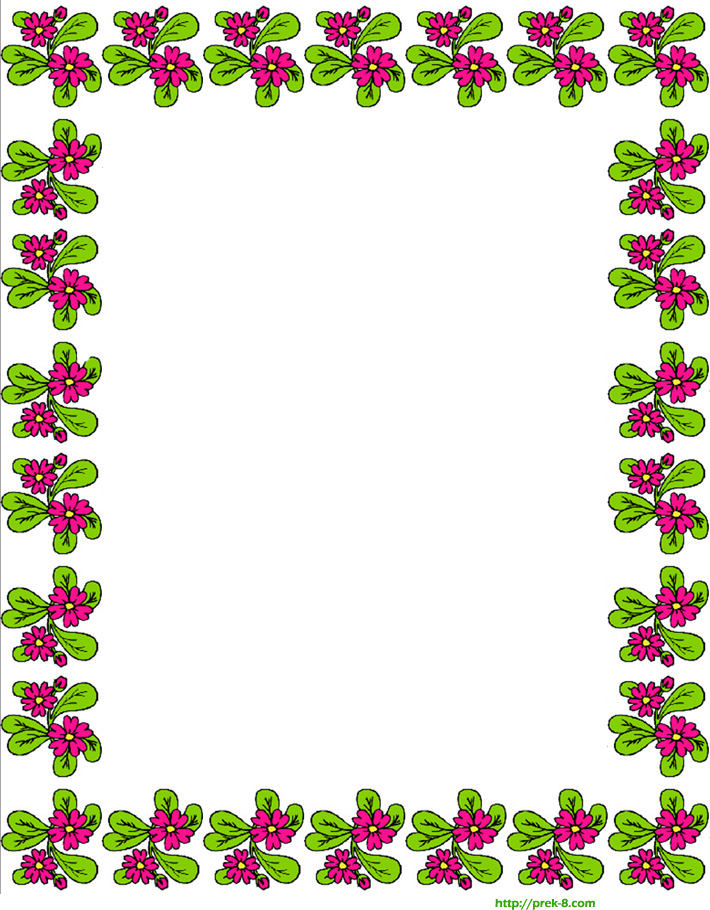 free printable spring cute red flowers border writing paper.
