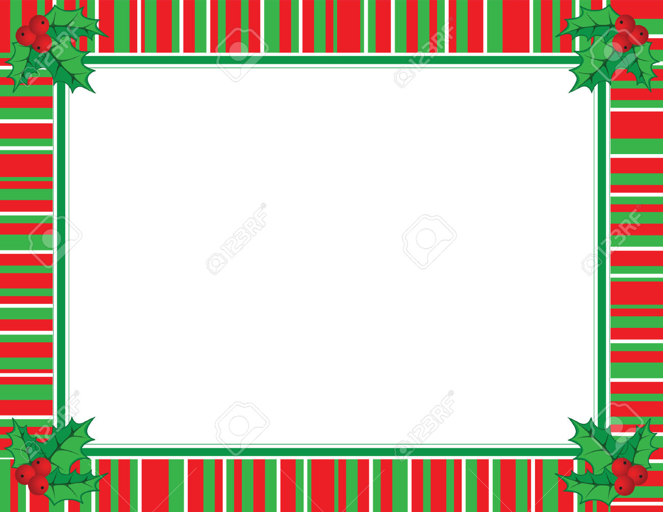 Cute Christmas Frame In Red And Green Color Royalty Free Cliparts.