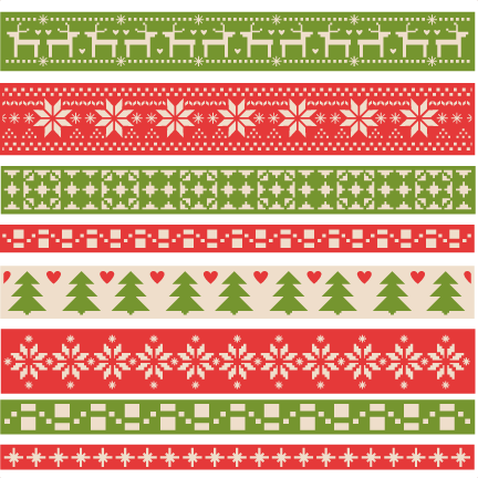 Christmas Fair Isle Borders scrapbook clip art christmas cut outs.