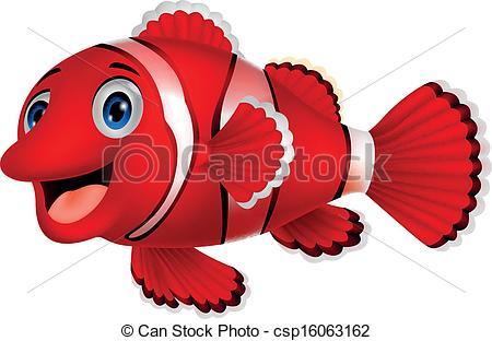 Clipart Vector of Cute clown fish cartoon.