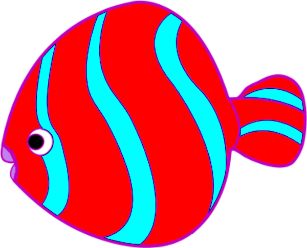 Red Fish Blue with Spots Clip Art.