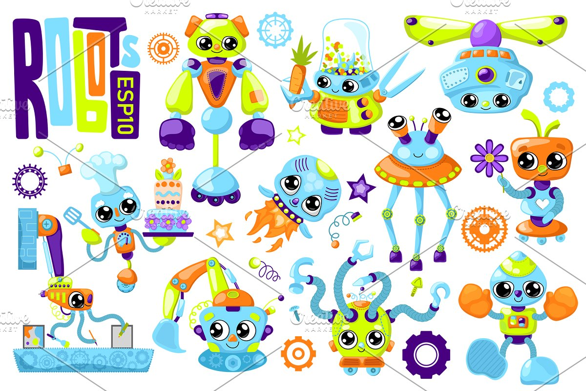 Cute Robot Characters Vector Clipart.