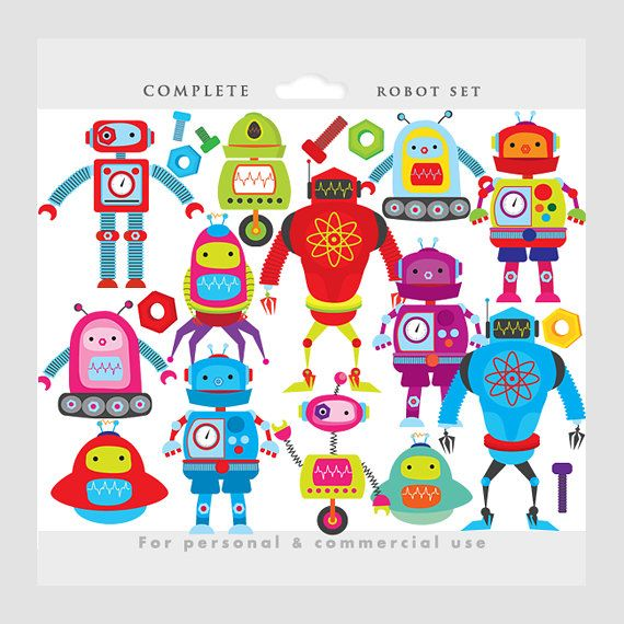Cute Robot Gear Clipart.