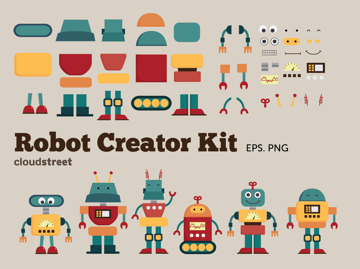 20% OFF Cute Robots Creator Kit clip art for personal and.