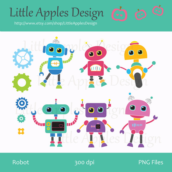 Robot Clip Art / Robot Clipart / Robot Digital Images / Commercial.