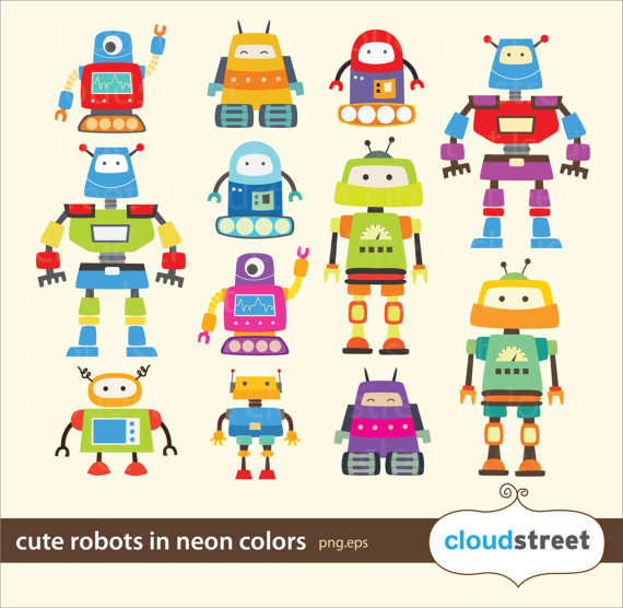 20% OFF Cute Robots Clipart in neon for personal and.