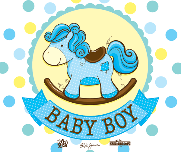 cute illustration of a baby rocking horse for Kaleidoscope.