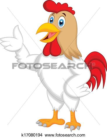 Clipart of Cute rooster cartoon presenting k17080194.